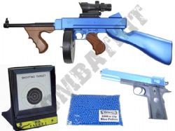 US Army WW2 BB Gun Bundle Spring 1921 & 1911 Replica + Pellets & Target Set 2 Tone Blue Black